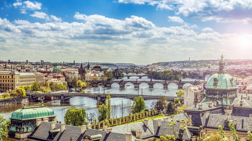 The skyline of Prague , Czech Republic