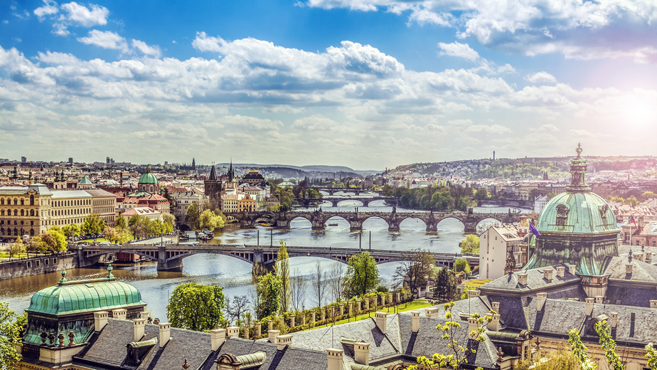 The skyline of Prague , Czech Republic